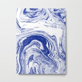 Marble blue 3 Suminagashi watercolor pattern art pisces water wave ocean minimal design Metal Print