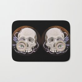 Stillife with skull, lavender and lovers eye Bath Mat