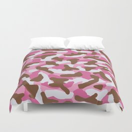 Pink and Brown Camo Camouflage  Duvet Cover