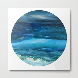 Blue seascape breeze with storm clouds. Oil painting seascape circle wall art decor. Metal Print