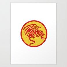 Dragon Gargoyle Crouching Circle Retro Art Print