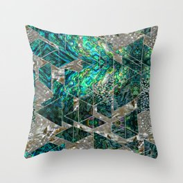 Abstract Geometric Abalone and Mother of pearl Throw Pillow