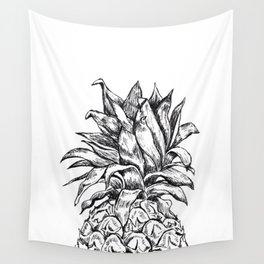 Pineapple Top Black and White Wall Tapestry