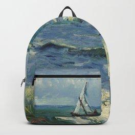 The Sea at Les Saintes-Maries-de-la-Mer by Vincent van Gogh Backpack