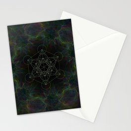 Metatrons Cube Green Stationery Cards