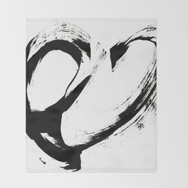 Brushstroke 6: a minimal, abstract, black and white piece Throw Blanket