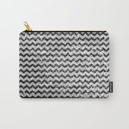 Elegant black white abstract vintage chevron Carry-All Pouch