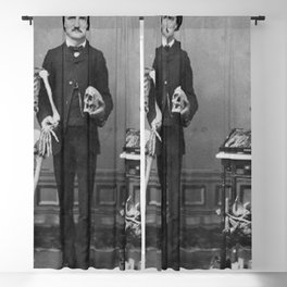 Edgar Allan Poe with Skull and Skeleton macabre black and white photograph Blackout Curtain