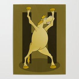 Pony Monogram Letter H Poster