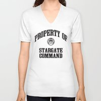 stargate V-neck T-shirts featuring Property of Stargate Command Athletic Wear Black ink by RockatemanDesigns