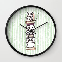 PILE OF PANDAS AND BOOKS Wall Clock