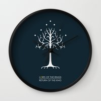 the lord of the rings Wall Clocks featuring Lord Of The Rings ROTK by Jamesy