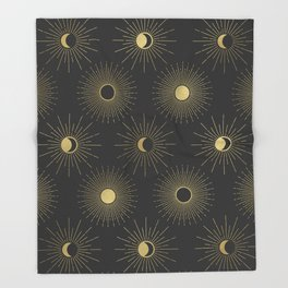 Moon and Sun Theme Throw Blanket