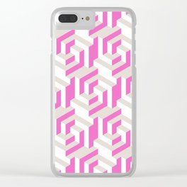Pink and White Pattern with Gray Fractal Art Clear iPhone Case