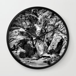 waterfall rope bridge kaunertal alps tyrol austria europe black white 2 Wall Clock
