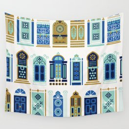 Moroccan Doors – Blue & Gold Palette Wall Tapestry