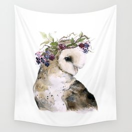 Flower Crowned Barn Owl Wall Tapestry