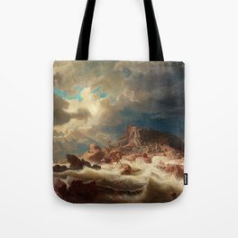 Marcus Larson - Stormy Sea With Ship Wreck Tote Bag