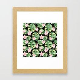 Tropical Monstera and Flower Pattern Framed Art Print