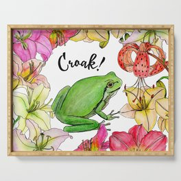watercolor frog with lilies Serving Tray