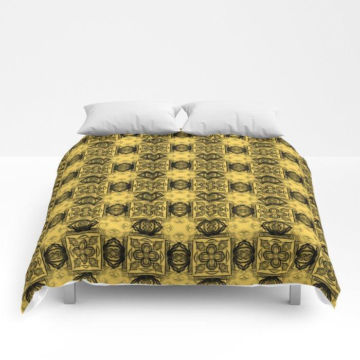Primrose Yellow Geometric Floral Comforters