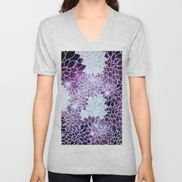 Space Dahlias Purple Ice Unisex V-Neck
