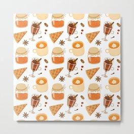 Sweet Orange Brown Coffee Pie Illustration Metal Print