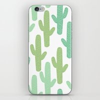 cacti iPhone & iPod Skins featuring cacti by ELLA CHERREY