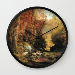 Cresheim Glen Wissahickon Autumn 1864 1 By Thomas Moran | Daytime Hike Watercolor Reproduction Wall Clock