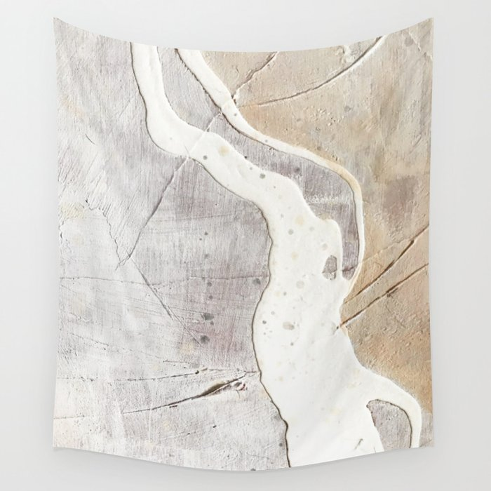 Feels: a neutral, textured, abstract piece in whites by Alyssa Hamilton Art Wall Tapestry