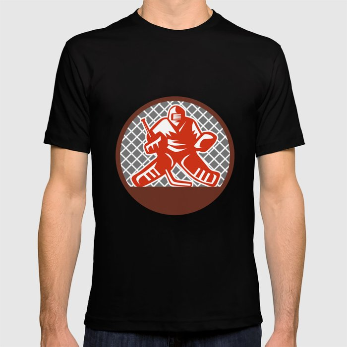 e50781d6f01 Ice Hockey Goalie Circle Retro T-shirt by patrimonio
