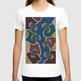 Authentic Aboriginal Art - Riverside Dreaming T-shirt