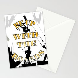 Be Up With The Boards Yellow Text And Kitesurfer Vector Stationery Cards