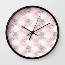 Peony Flowers Wall Clock