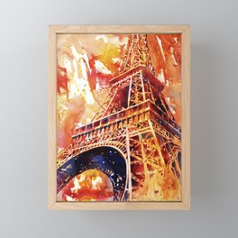 Watercolor painting of the iron lattice of the Eiffel Tower in Paris, France Framed Mini Art Print