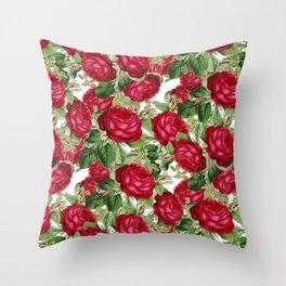 Crimson Rose Bower Throw Pillow