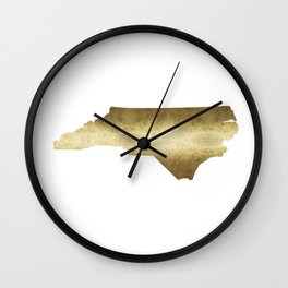 North Carolina Gold Foil State Map Wall Clock