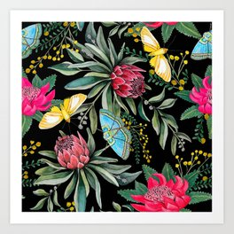 Protea flower botanical watercolor Art Print