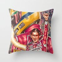 senna Throw Pillows featuring Ayrton Senna do Brasil by Renato Cunha