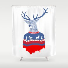 Ugly winter pulover Shower Curtain