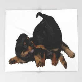 Rottweiler Puppies Playing Vector Isolated Throw Blanket