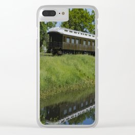 Sitting on a siding Clear iPhone Case