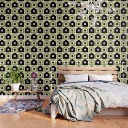 Mid Century Modern House Dot Pattern 971 Black and Green Wallpaper