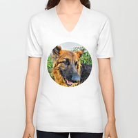 megan lara V-neck T-shirts featuring Dog Lara by itsme23