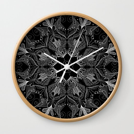 Black Mandala 2 Wall Clock by Demian Crownfield