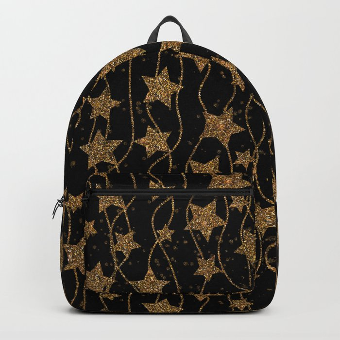 christmas print with christmas glitter stars Backpack