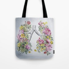 Floral Anatomy Lungs Tote Bag