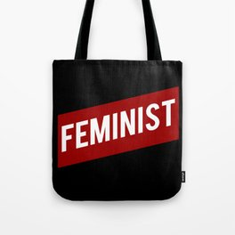 FEMINIST RED WHITE BANNER Tote Bag