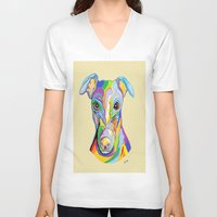 greyhound V-neck T-shirts featuring Greyhound by EloiseArt