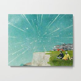 Meteor Shower Digital Collage Metal Print